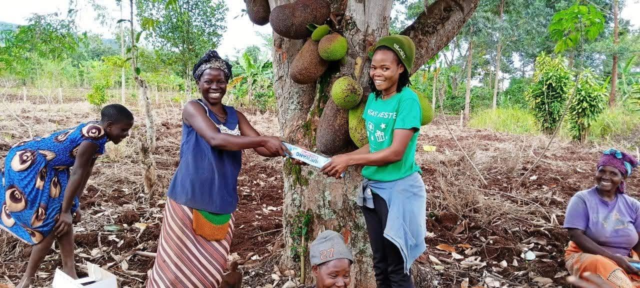 Volunteers receiving soap